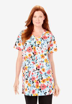 Perfect Printed Shirred V-Neck Tunic, WHITE PAINTERLY BLOOM