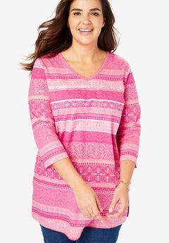 aaac76fe2422b5 Perfect V-Neck Three-Quarter Sleeve Tunic