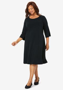 A-Line Three-Quarter Sleeve Knit Dress,
