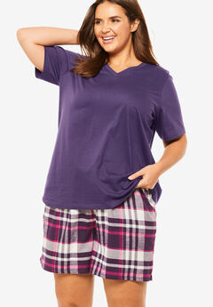 Flannel Pajama Short by Dreams & Co.®, RICH VIOLET PLAID