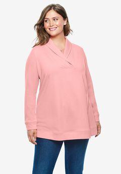 French Terry Zip Shawl Collar Sweatshirt, SOFT PINK
