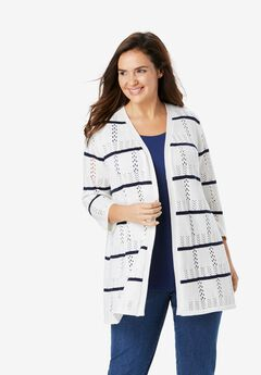 Pointelle Stripe Cardigan,