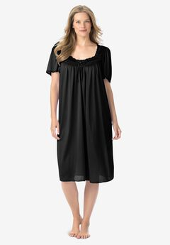 Short Silky Lace-Trim Gown by Only Necessities®, BLACK