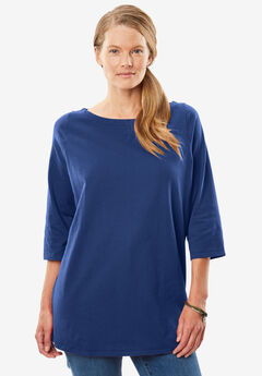 Perfect Boatneck Three-Quarter Sleeve Tee,