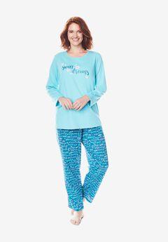 Long Sleeve Knit PJ Set by Dreams & Co.®, DEEP TEAL SWEET DREAMS