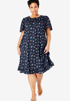 Short Floral Print Cotton Gown by Dreams & Co.®, NAVY FLOWERS