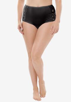Comfort Choice® Lace-trim Cheeky Boyshort, BLACK