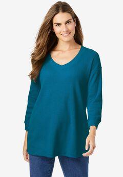 Three-Quarter Sleeve Thermal Sweatshirt, DEEP TEAL