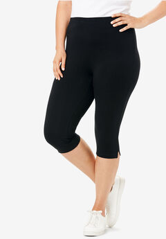 Stretch Cotton Capri Legging, BLACK