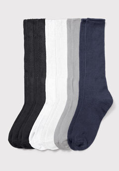 6-Pack Rib Knit Socks by Comfort Choice®,