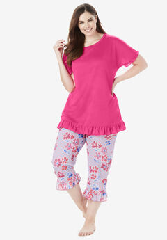 Cool Dreams Ruffled Capri Pajama Set 8a4a58a94