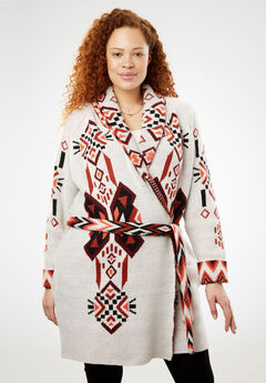 Belted Geometric Knit Cardigan,