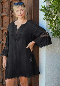 Embroidered Crinkle Cover Up,