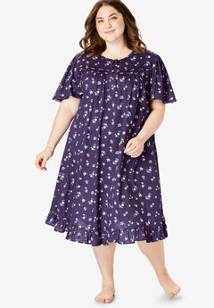 Short Floral Print Cotton Gown by Dreams & Co.®, RICH VIOLET FLORALS
