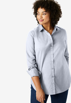 Perfect Long-Sleeve Button Down Shirt, CHAMBRAY