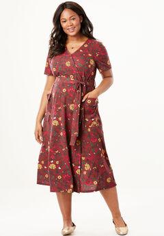 Midi Faux Wrap Dress,