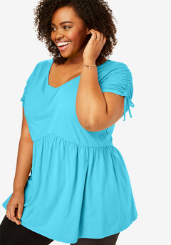 V-Neck Tie-Sleeve Tunic, CARIBBEAN BLUE