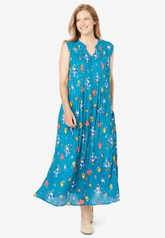 Sleeveless Pintuck Crinkle Dress,