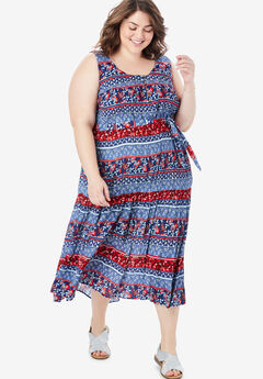 Button Front Flounced Hem Crinkle Tank Dress,