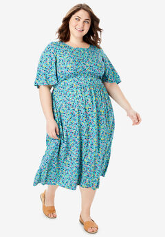 Flutter Sleeve Printed Midi Dress, SOFT TURQUOISE DITSY FLORAL
