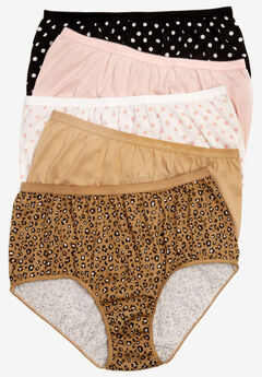 5-Pack Pure Cotton Full-Cut Brief by Comfort Choice®, POLKA DOT PACK