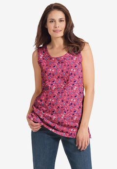 Perfect Printed Scoop-Neck Tank,