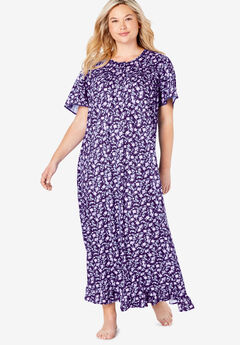 Long Floral Print Cotton Gown by Dreams & Co.®, RICH VIOLET FLORALS