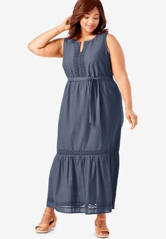 Crochet Trim Tiered Sleeveless Maxi Dress,