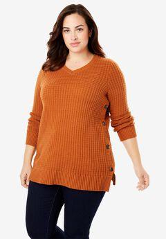 Button V-Neck Waffle Knit Sweater,