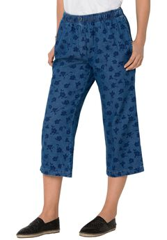 Mock Fly Cotton Capri Jean,