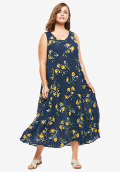 Sleeveless Crinkle A-Line Dress, NAVY CARNATION