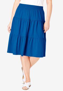 Jersey Knit Tiered Skirt, DEEP COBALT