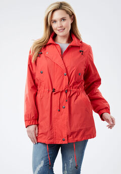 Fleece-Lined Taslon® Anorak, CORAL RED