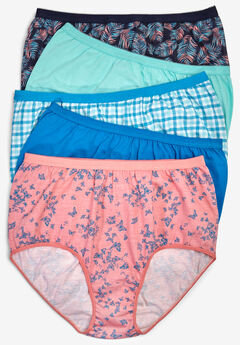 5-Pack Pure Cotton Full-Cut Brief by Comfort Choice®, SUMMER PALM PACK