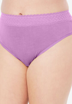 Lace Waistband High-Cut Brief by Comfort Choice®, LIGHT ORCHID