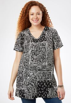 Printed Shirred V-Neck Perfect Tunic,