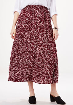 Soft A-Line Skirt, RICH BURGUNDY LEAF