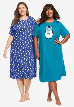 2-Pack Long Sleepshirts by Dreams & Co.®, BLUE SAPPHIRE PENGUINS
