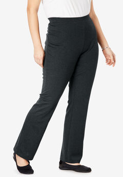 Bootcut Ponte Stretch Knit Pant, HEATHER CHARCOAL