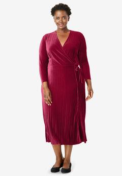 Crinkle Velour Faux Wrap Dress,