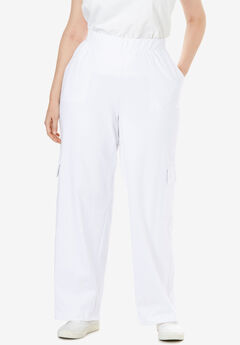 Pull-On Knit Cargo Pant, WHITE