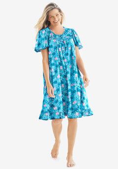Short Floral Print Cotton Gown by Dreams & Co.®,