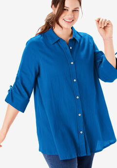 Ruched-Sleeve Button Down Tunic,