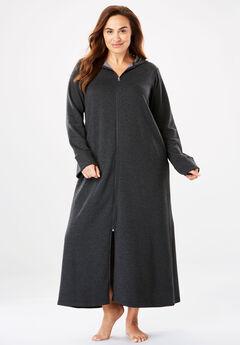 Hooded Fleece Robe by Dreams & Co.®, HEATHER CHARCOAL