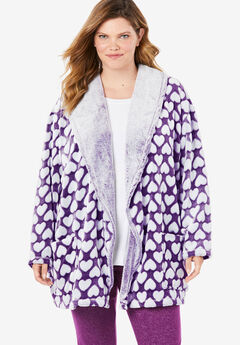 Heart Embossed Sherpa Lounge Jacket, RICH VIOLET HEART
