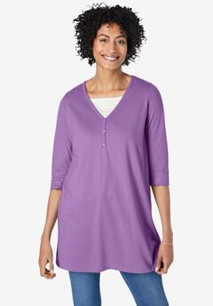 Layer-Look Knit Henley Tunic,