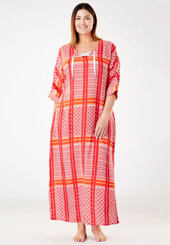 Lace-Up Woven Lounger by Dreams & Co.®, CORAL RUBY