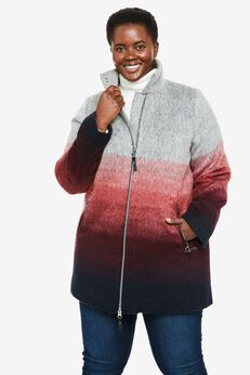 Multicolor Brushed Wool Coat,