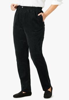 Comfort Waist Straight Leg Corduroy Pant, BLACK