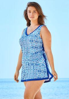2-Piece Swim Skirtini Set by Swim 365, BLUE PATCHWORK